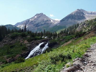 rock mountain waterfall